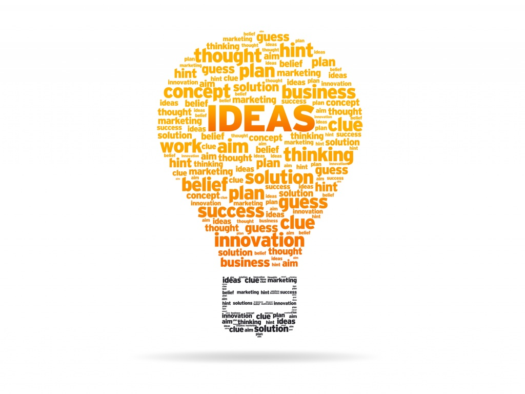Abstract Light Bulb with the word Ideas on white background.